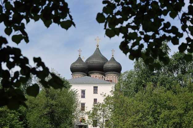 View on the cathedral of the intercession on izmailovsky island in moscow