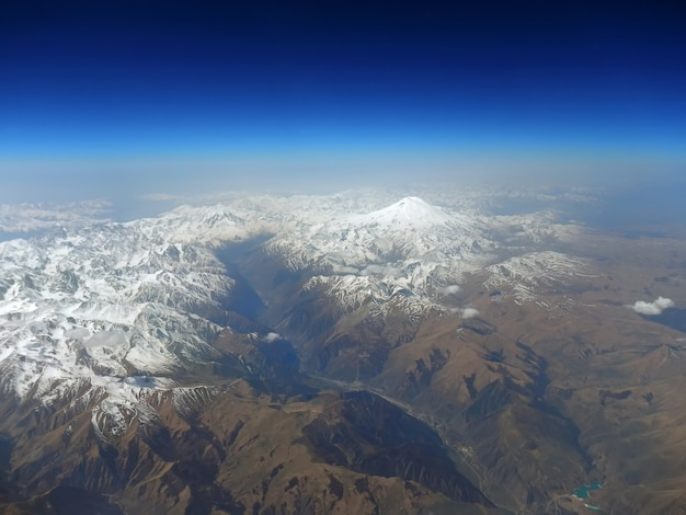 The view on caucasian mountains from the airplane
