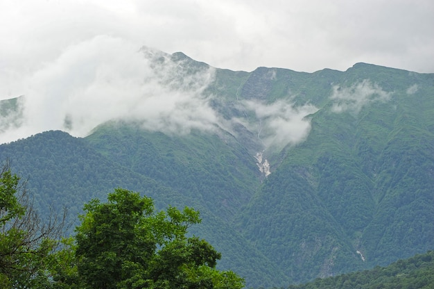 View of the caucasus mountains in krasnaya polyana, sochi, russia