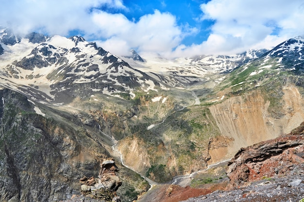 View of the caucasus mountains and peaks covered with snow. elbrus