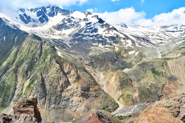 View of the caucasus mountains and peaks covered with snow
