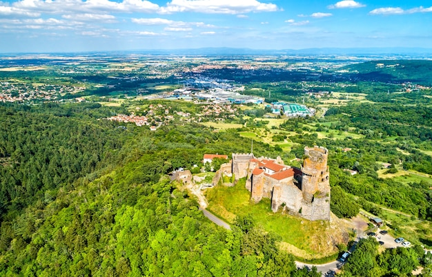 View of the chateau de tournoel, a medieval castle in the puy-de-dome department of france