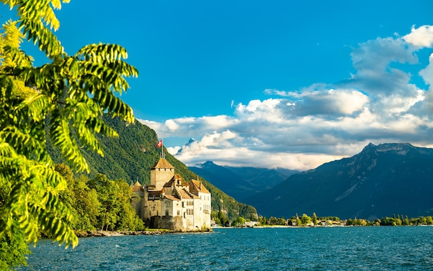 View of chillon castle on lake geneva in switzerland