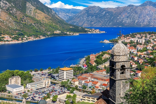 View on the church of our lady of remedy and the town from the kotor fortress, montenegro.