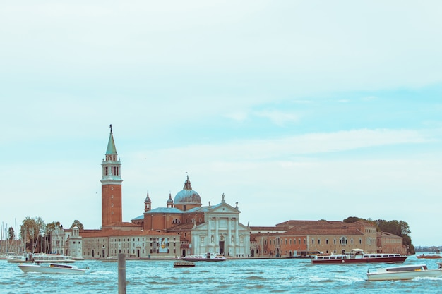 View of church of san giorgio maggiore boats before it famous landmark place copy space