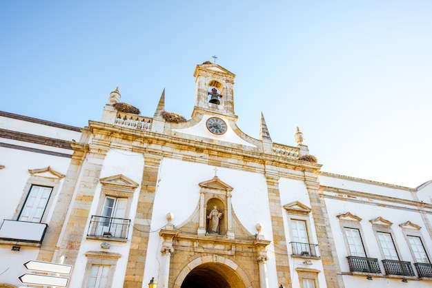 View on the cidade arch in the old town of faro on the south of portugal