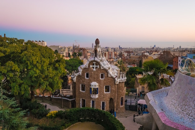 View of the city from park guell in barcelona