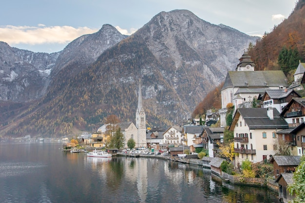 View of the city of hallstatt austria