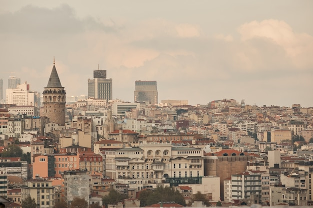 View of the city of istanbul and the tower of galata from the heights, turkey