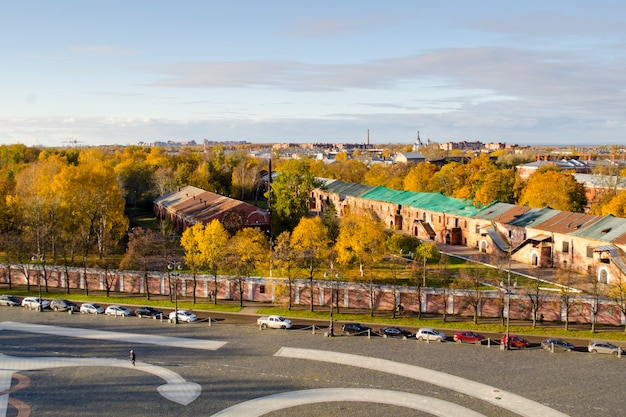 View of the city of kronstadt from the bell tower of the nikolsky naval cathedral on an autumn day