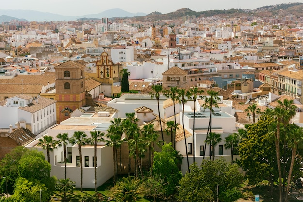 View of the city of malaga and picasso museum