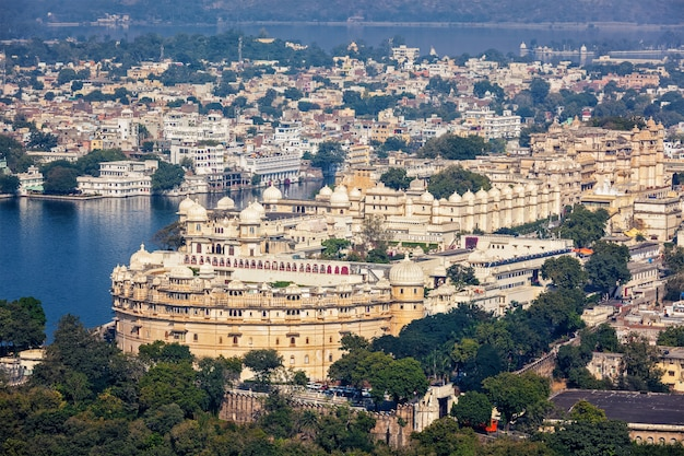 View of city palace. udaipur, rajasthan, india