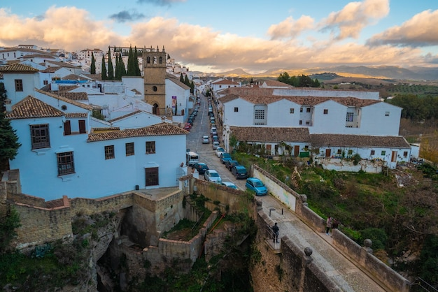 View of city of ronda and the old bridge.
