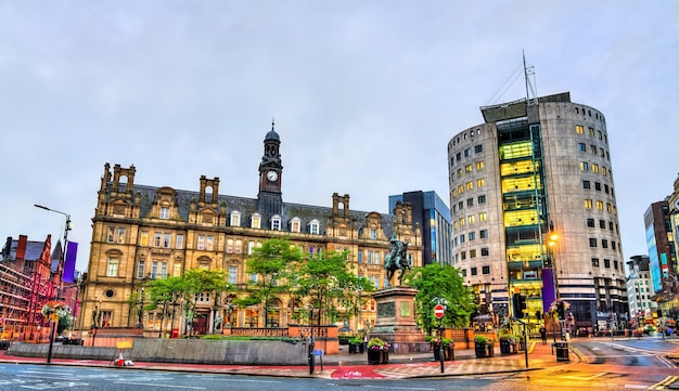 View of city square in leeds  west yorkshire, england