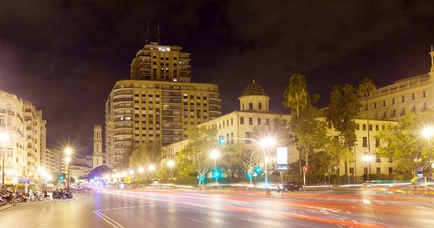 View of city street in night. valencia, spain