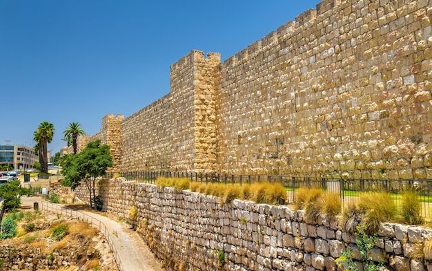 View of the city walls of jerusalem- israel