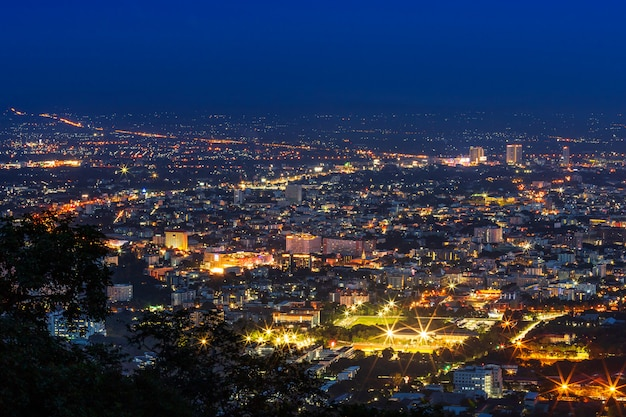 View cityscape over the city center of chiang mai,thailand at twilight night.