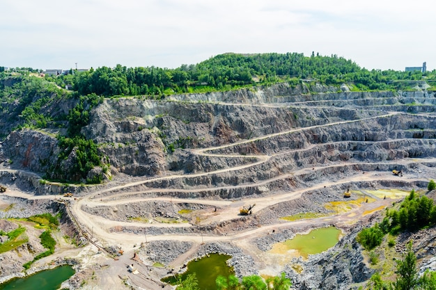 View on a cliffs in a granite quarry