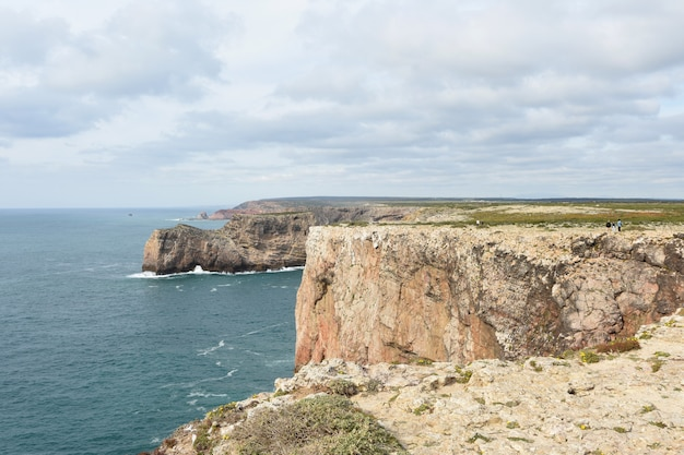 View of the coast of cabo san vicente, algarve, portugal