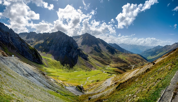 View of col du tourmalet in pyrenees mountains