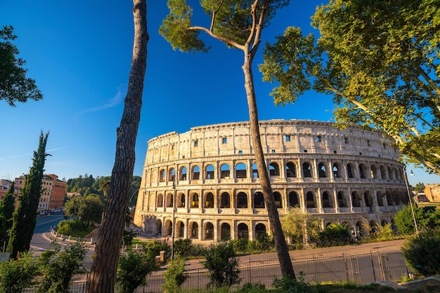 View of colosseum in rome with blue sky, italy, europe.