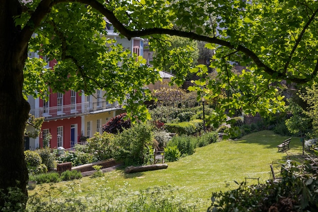 View of colourful houses at clifton in bristol
