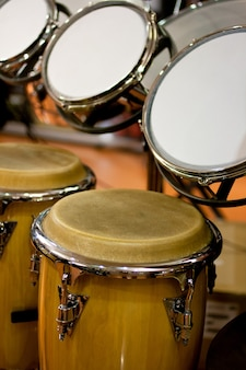 View of congas and drums in the shop for musicians