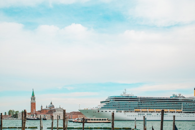 View of cruise liner in venice port travel concept summer vacation