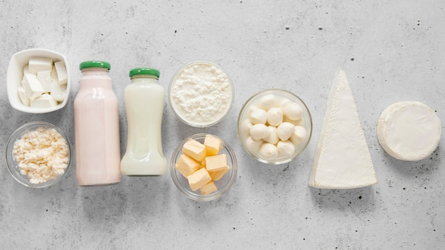 Above view dairy products arrangement