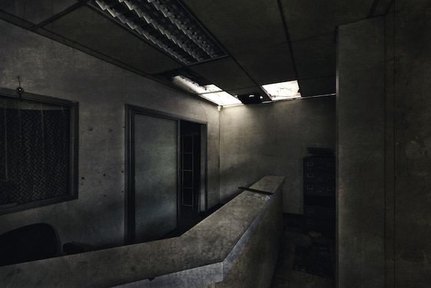 View of dark room abandoned in the psychiatric hospital