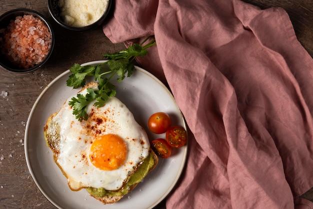 Above view delicious egg sandwich