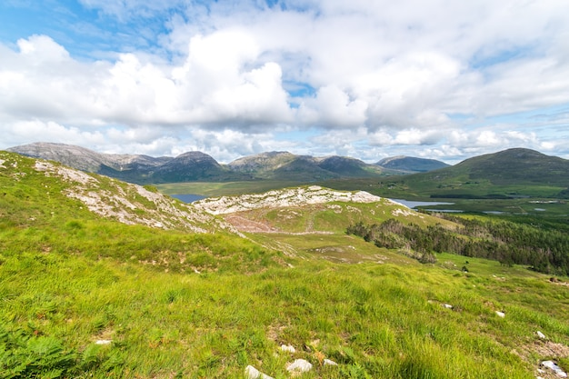View over derryclare nature resrve from the summit of derryclare moutntain.