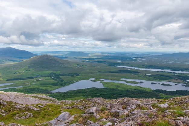 View over derryclare nature resrve from top of derryclare moutntain.