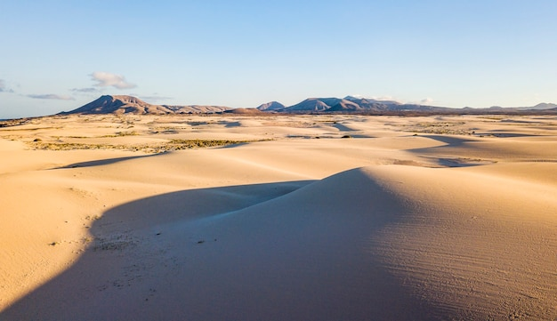 Above view of desert dunes - concept of wild adventure travel destination and beauty of the planet in untouched nature and outdoors