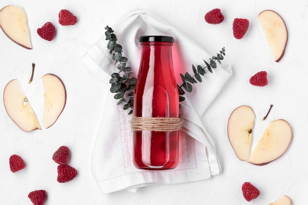 Above view detox fruit drink