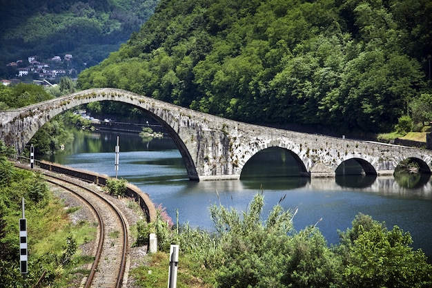 View of the devil's bridge in lucca, italy