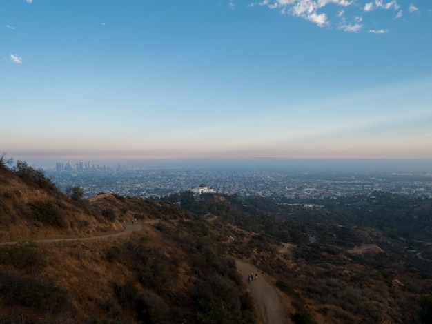 View of a dirt track for hiking in the hills of hollywood.
