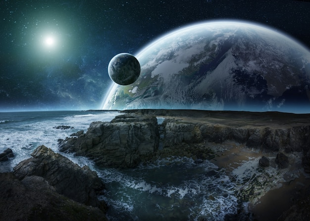 View of distant planet system from cliffs 3d rendering elements of this image furnished by nasa
