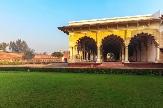 View on diwan-i-aam, hall of public audience in red fort of agra, india.