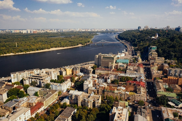 View of the dnieper embankment, river station