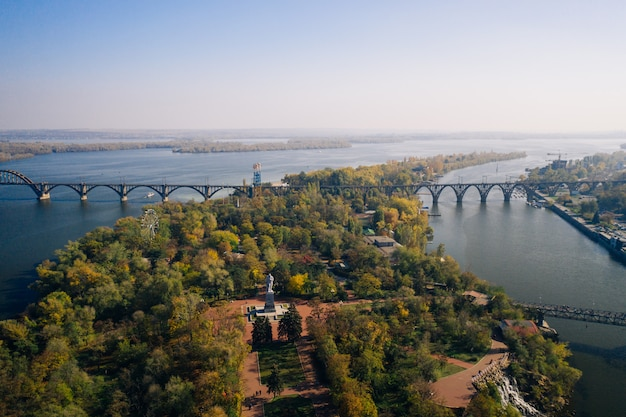 View over the dnieper river in kiev