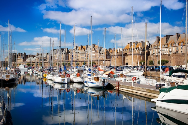 View of the docks of saint malo