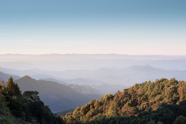 View of doi inthanon national park at chiang mai. the top highest mountain of thailand, landscape chiang mai.