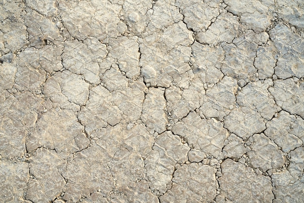 Above view of dry land cracks grey colour.