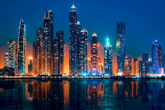 View of dubai by night, uae