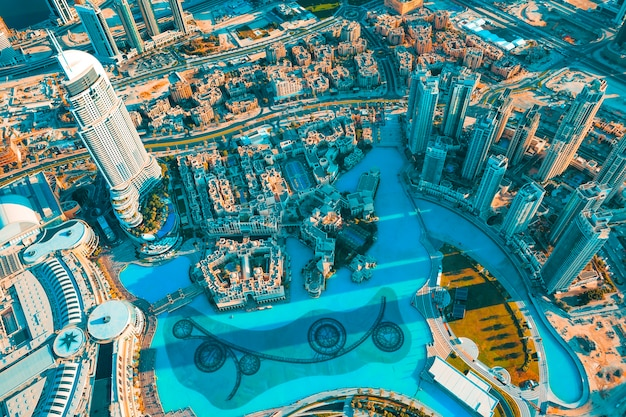 View of dubai city from the top of a tower.