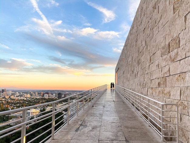 Vista durante il tramonto nel getty center di los angeles
