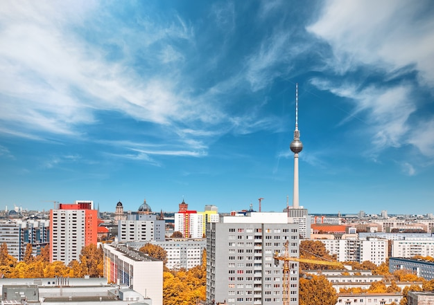 Above view of eastern berlin, ncluding houses and television tower on alexanderplatz