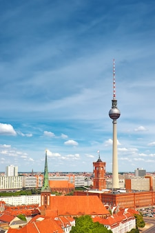 Above view of eastern berlin with television tower on alexanderplatz and city skyline