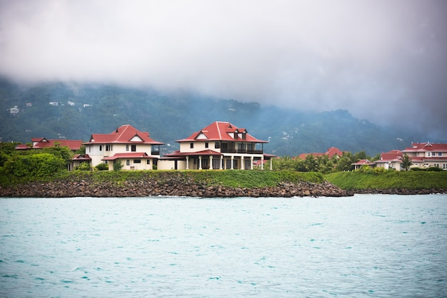 View of eden island, mahe, seychelles at overcast weather